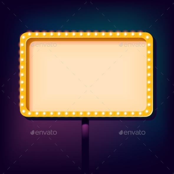 Night Retro Sign With Lights - Borders Decorative