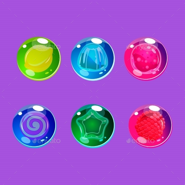 Bright Colorful Glossy Candies With Sparkles - Web Elements Vectors