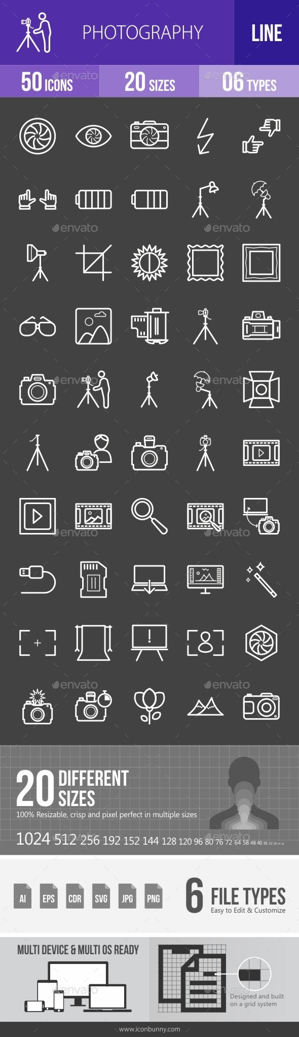Photography Line Inverted Icons - Icons
