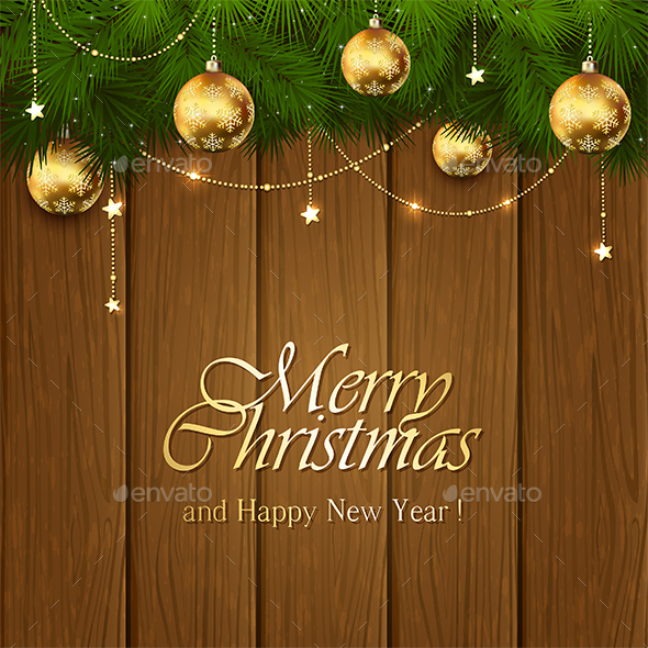 Golden Christmas Decorations on Wooden Background - Christmas Seasons/Holidays