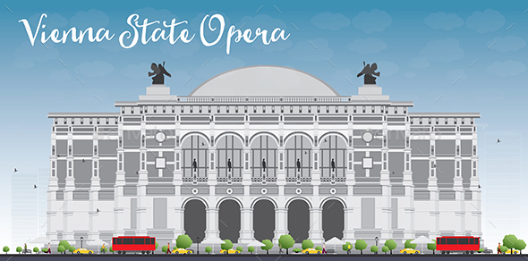 Vienna State Opera. Vector Illustration.  - Buildings Objects