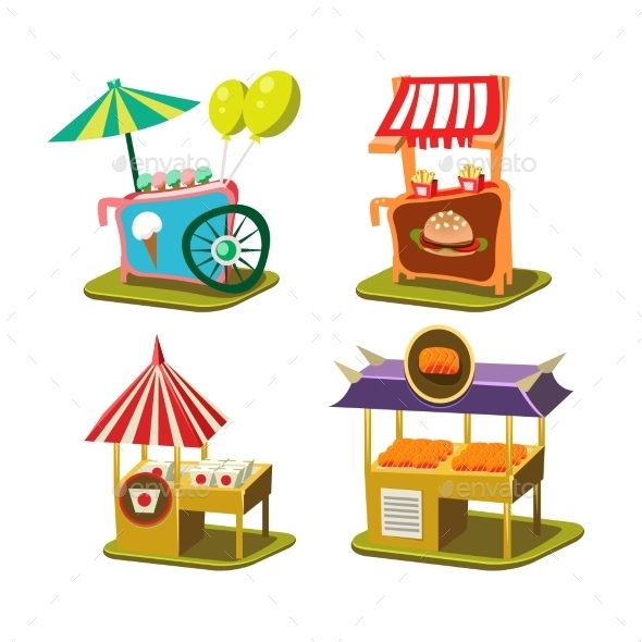 Cart Stall And Ice Cream Vector Illustration - Buildings Objects