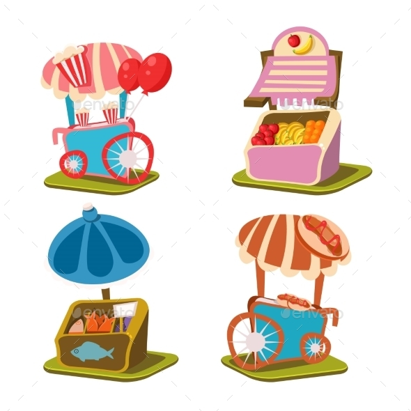 Cart Stall And Takeaway Vector Illustration - Buildings Objects