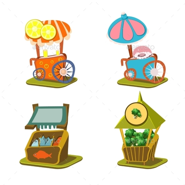 Cart Stall And Street Food Vector Illustration - Buildings Objects