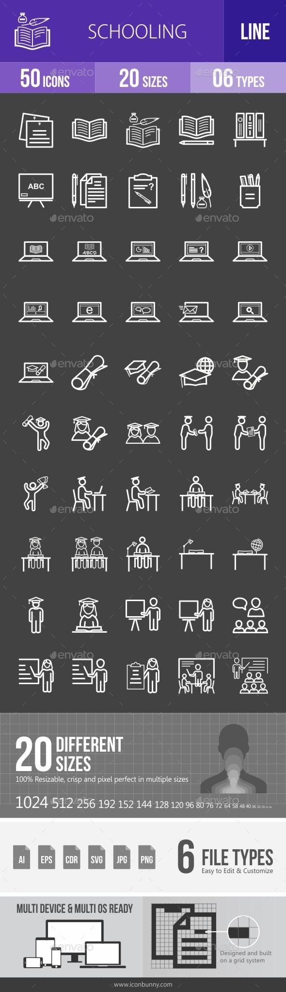 Schooling Line Inverted Icons - Icons