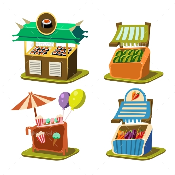 Cart Stall Food Vector Illustration - Buildings Objects