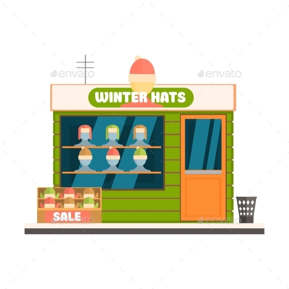 Winter Hats Store Front Vector Illustration - Buildings Objects