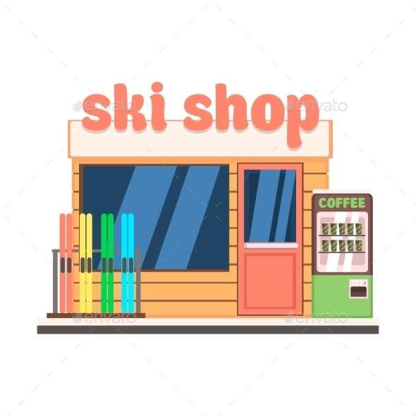 Ski Shop Front. Vector Illustration - Buildings Objects