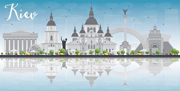 Kiev Skyline with Gray Landmarks - Buildings Objects