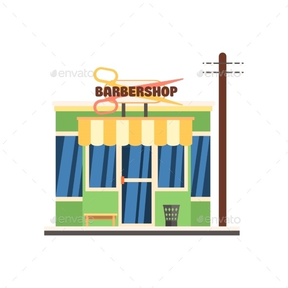 Barbershop Front. Vector Illustration - Buildings Objects