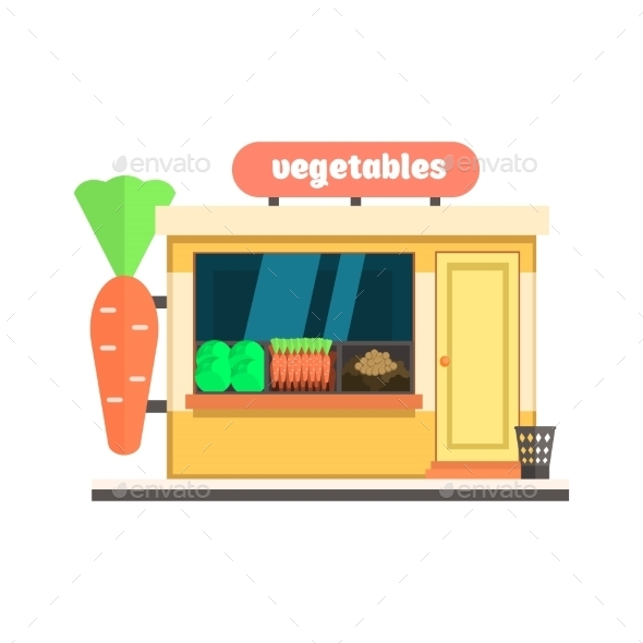 Vegetables Shop Front. Vector Illustration - Buildings Objects