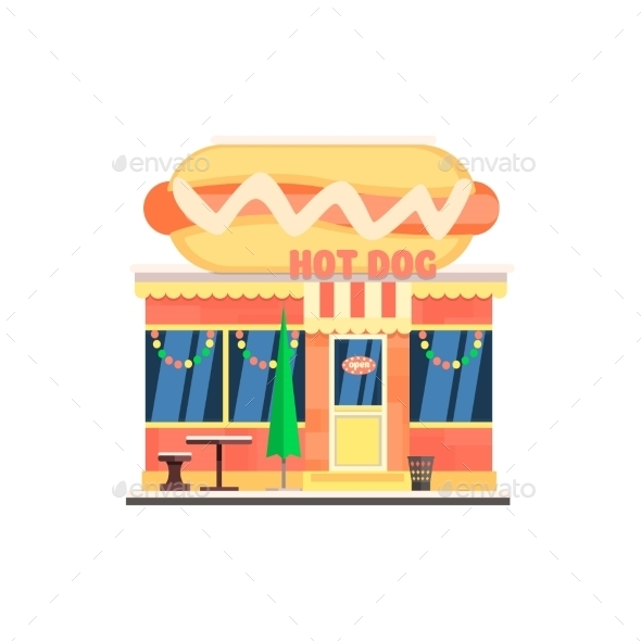 Hot Dog Cafe Front In Christmas. Vector - Buildings Objects