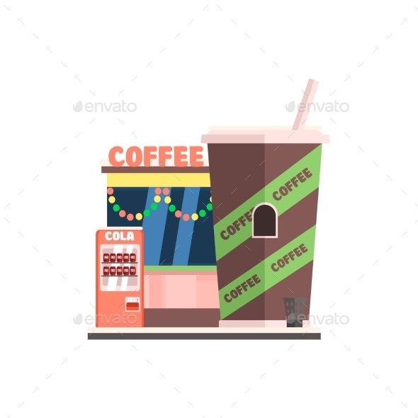 Coffee Shop Front In Christmas. Vector - Buildings Objects