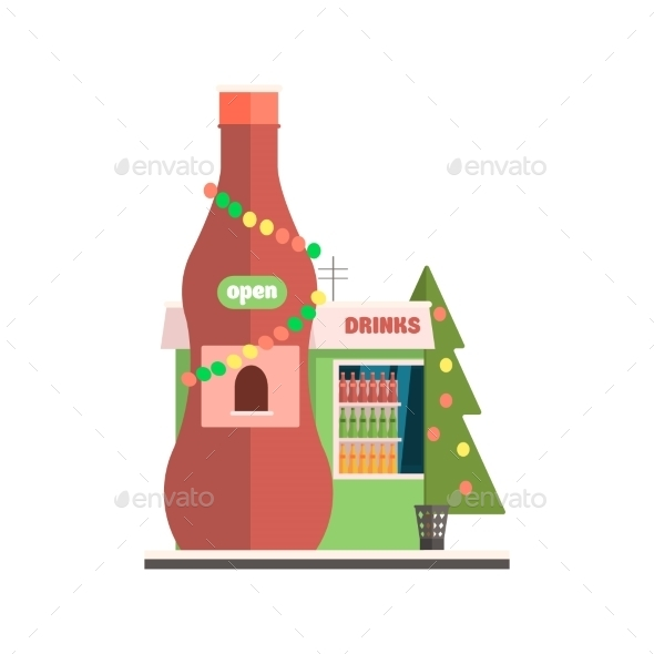 Drinks Shop Front In Christmas. Vector - Buildings Objects