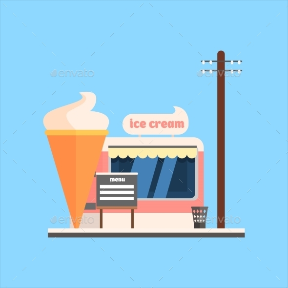 Ice Cream Shop Front. Vector Illustration - Buildings Objects