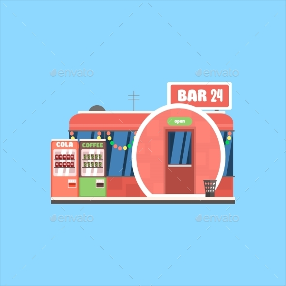 Bar Front In Christmas. Vector Illustration - Buildings Objects