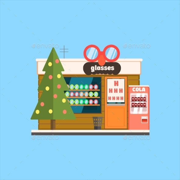 Glasses Shop Front In Christmas. Vector - Buildings Objects