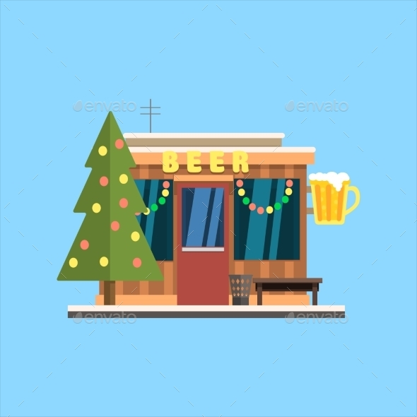 Beer Shop Front In Christmas. Vector Illustration - Buildings Objects