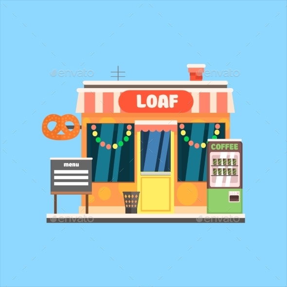 Bakery Front In Christmas. Vector Illustration - Buildings Objects