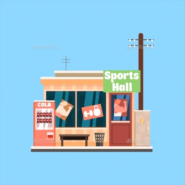 Sports Hall Front. Vector Illustration - Buildings Objects