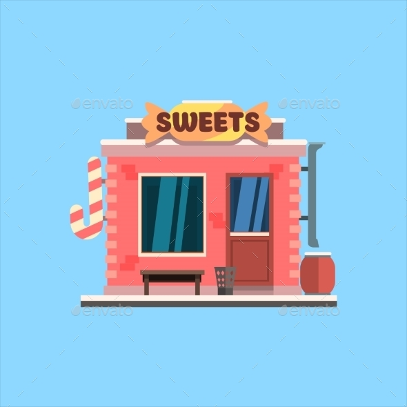 Candy Shop Front. Vector Illustration - Buildings Objects