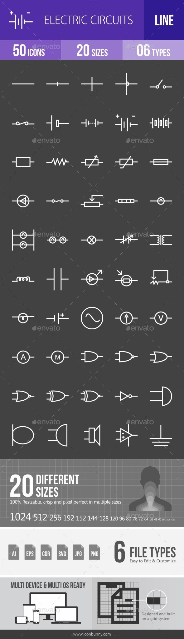 Electric Circuits Line Inverted Icons - Icons