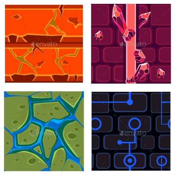 Textures For Platformers Icons Vector Set Games - Backgrounds Decorative