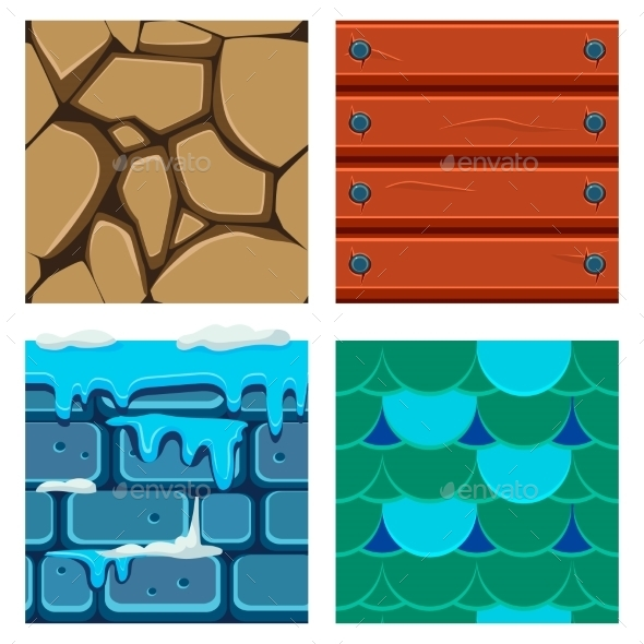 Textures For Platformers Icons Vector Set Of Wood - Backgrounds Decorative