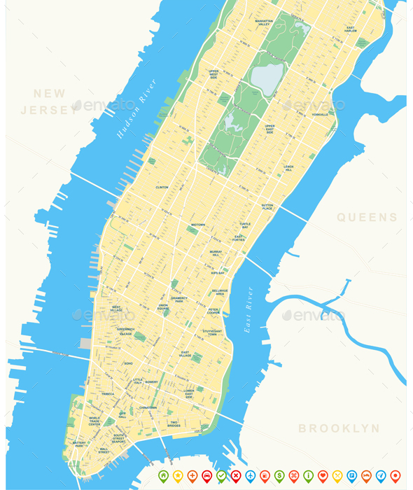 New York Map - Lower and Mid Manhattan. - Travel Conceptual