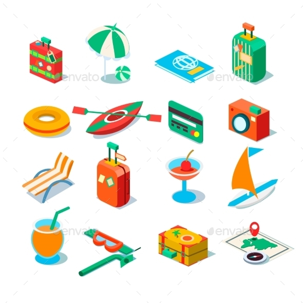 Travel, Tourism And Journey Objects. Vector - Travel Conceptual