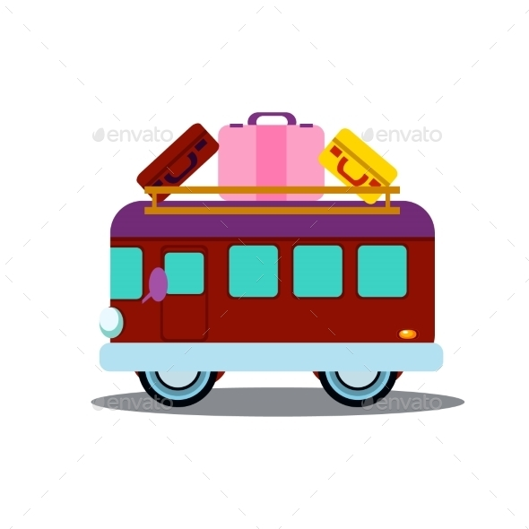 Bus Side View With Heap Of Luggage Vector - Objects Vectors