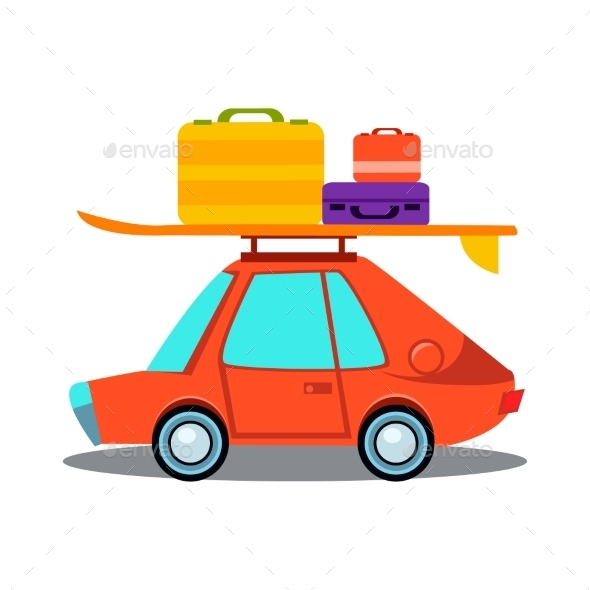 Car Side View With Heap Of Luggage  - Objects Vectors