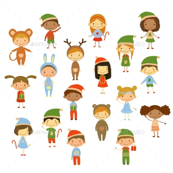 Cute Kids Wearing Christmas Costumes - Christmas Seasons/Holidays