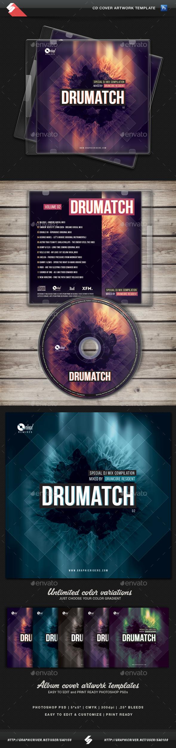 Drumatch vol.2 - CD Cover Artwork Template - CD & DVD Artwork Print Templates