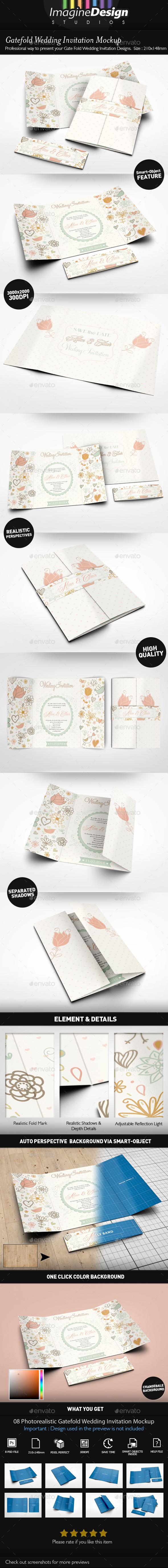 Gatefold Wedding Invitation Mockup - Miscellaneous Print