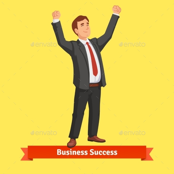 Businessman Celebrating Success or Victory - People Characters
