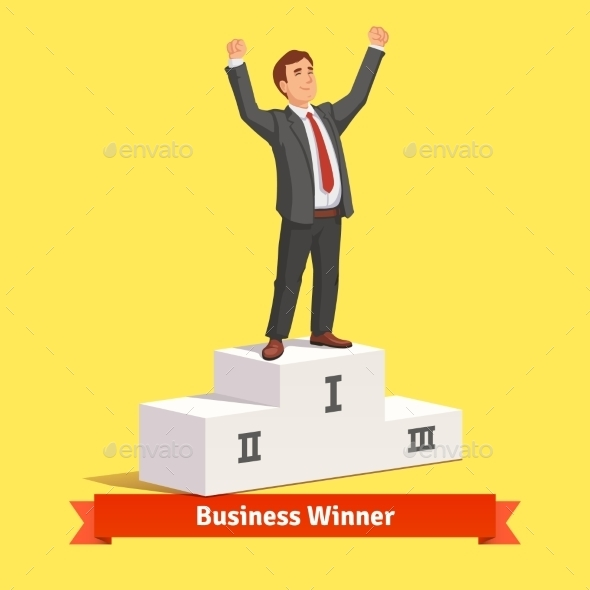Businessman Celebrating His First Place Victory - People Characters