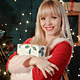 Sexy Blonde Woman With Christmas Gift - VideoHive Item for Sale