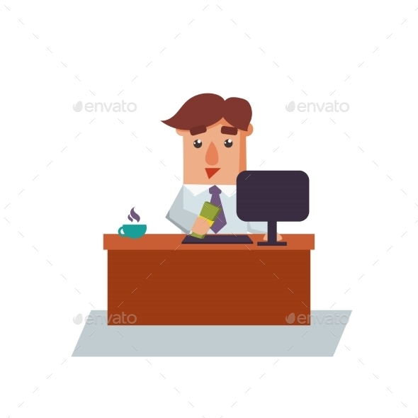 Business Man Salary Cartoon Character - Concepts Business