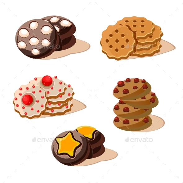 Tasty Cookies. Set Of Cartoon Vector Icons. - Food Objects