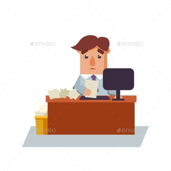 Business Man with Paper Cartoon Character - Concepts Business