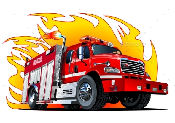 Vector Cartoon Fire Truck - Monsters Characters
