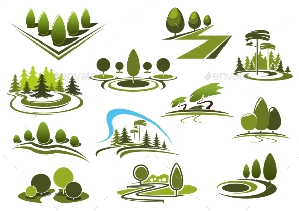Green Park, Garden And Forest Landscape Icons - Landscapes Nature
