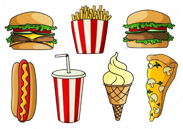 Pizza, Burger, Hot Dog, French Fries, Ice Cream - Food Objects