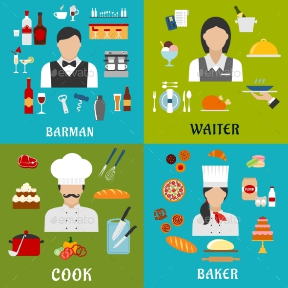 Cook, Baker, Waitress And Barman Professions - Food Objects