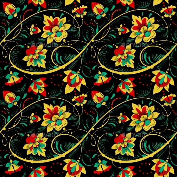 Floral Seamless Pattern in Russian Tradition Style - Flowers & Plants Nature