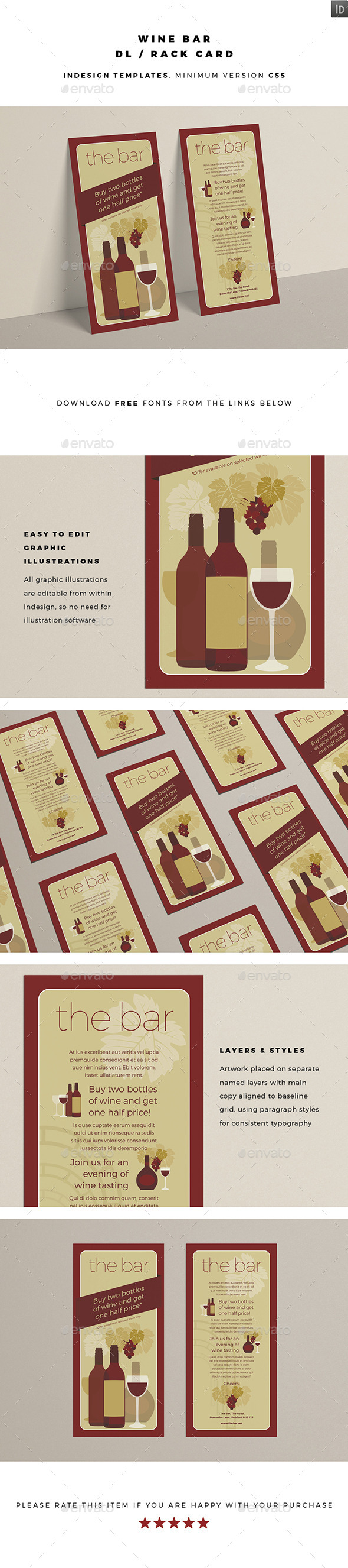 DL / Rack Card - Wine Bar - Restaurant Flyers
