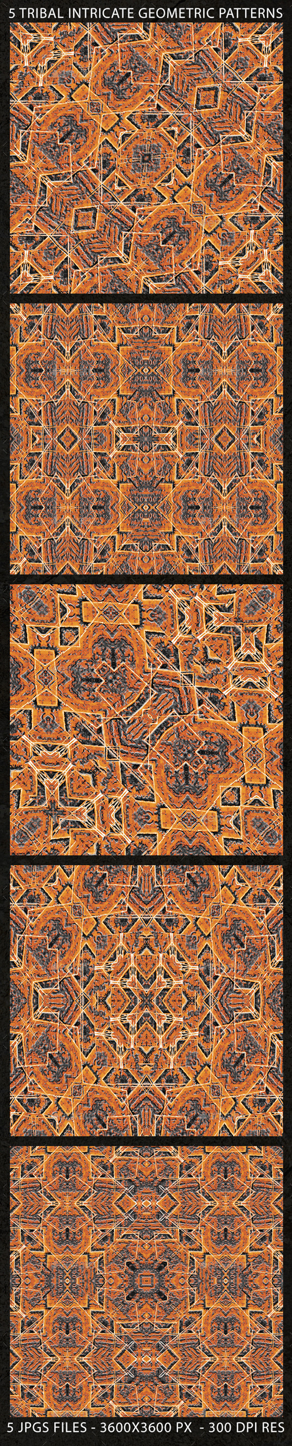5 Tribal Intricate Geometric Patterns - Patterns Decorative