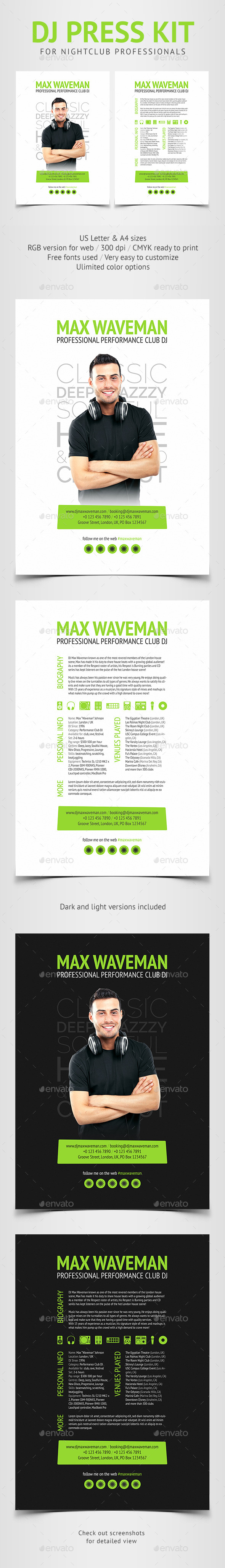 Groove - DJ Press Kit / Resume PSD Template - Resumes Stationery