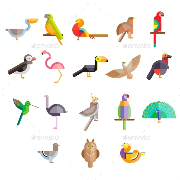 Flat Design Bird Icons - Animals Characters